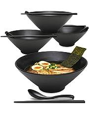 4 Sets 1700 milliliters Large Japanese Ramen Noodle Soup Bowl Dishware Ramen Bowl Set with Matching Spoon and Chopsticks for Udon Soba Pho Asian Noodles (4, Black, 23 Centimeters)