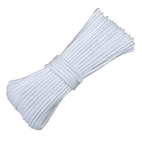 バングラデシュチャールズキージングダウンタウンサバイバルコードナイロンロープバンドルロープ編組ロープバンドルロープの洋服ライン屋外編組消防パラシュートコードロープ (色 : 白, サイズ : Diameter 8 mm/100M)