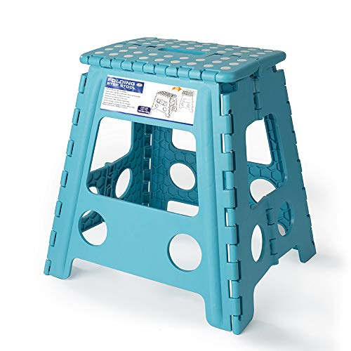 Acko 16 Inches Super Strong Folding Step Stool for Adults and Kids, Light Blue Kitchen Stepping Stools, Garden Step Stool, Holds up to 400 LBS from Acko