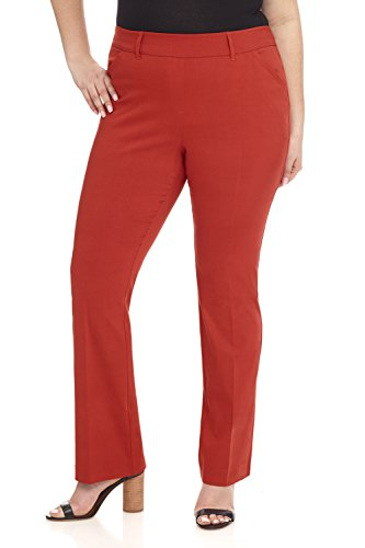 Rekucci Curvy Woman Ease in to Comfort Fit Barely Bootcut Plus Size Pant (14W,Rust)