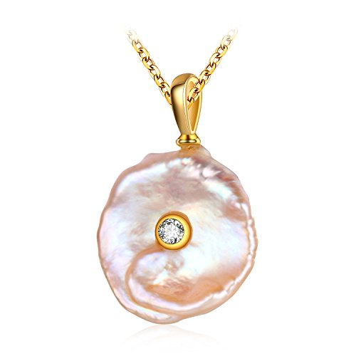 (Sterling Silver Baroque Freshwater Pearl Pendant Necklace)