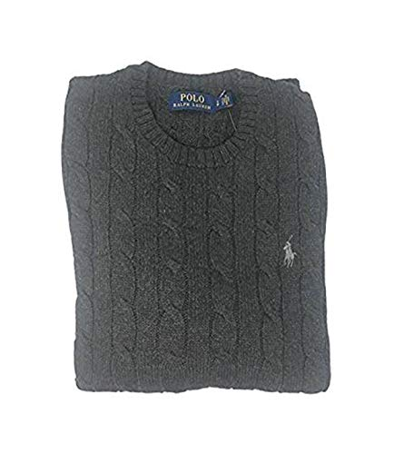Polo Ralph Lauren Mens Cable Knit Crew Neck Sweater (Medium, Grey ()
