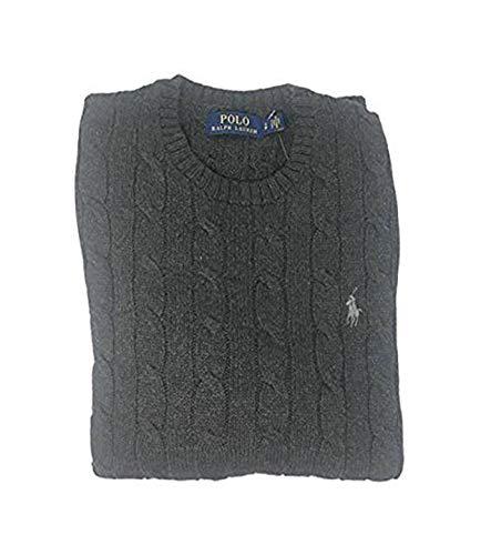 Polo Ralph Lauren Mens Cable Knit Crew Neck Sweater (Medium, Grey Heather)