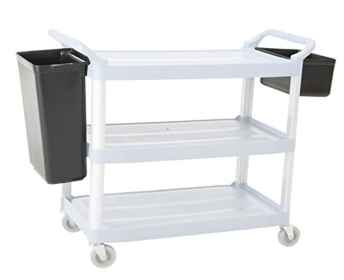 Utility Cart - 3 Shelf Refuse and Silverware Bin Set, Cart Refuse Bin, Bus Cart Silverware (3 Shelf Bus Cart)