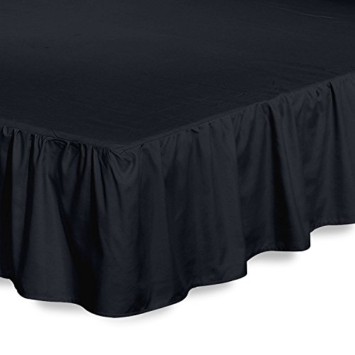 Bed Ruffle Skirt (Full, Black) Brushed Microfiber Bed Wrap with Platform - Easy Fit Gathered Style 3 Sided Coverage by Utopia Bedding - Black Full Bedskirt
