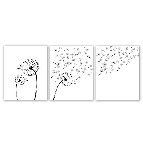 Dandelion Flower Art Print, Blowing Away in The Wind Set of 3 (8