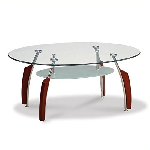 Contemporary Mahogany Coffee Table (Global Furniture Clear/Silver Occasional Coffee Table with Mahogany Legs)