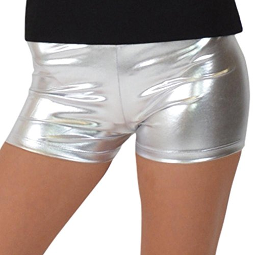 Stretch is Comfort Women's Foil Metallic Booty Shorts Silver Large -