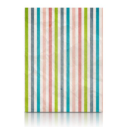 Homeyard Canvas Prints Wall Art Pastel Retro Stripe Pattern Color Colored Pink Abstract Effect 12 x 16 Inches Wooden Framed Artwork Painting Home Decor Bedroom ()