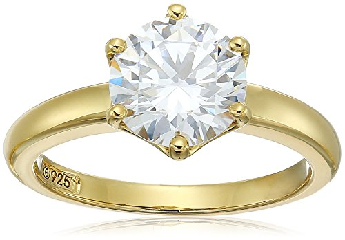 Yellow-Gold-Plated Sterling Silver Swarovski Zirconia Round Solitaire Ring, Size 7