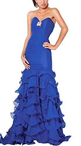 mit Taft Abendkleid Blumen V Blau Applikationen Bodenlang Ausschnitt BRIDE Trompete GEORGE Meerjungfrau wqYH8Apg