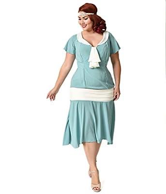 Unique Vintage Plus Size 1920s Seafoam & Ivory Wilshire Flapper Day Dress
