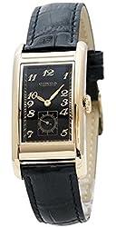 Circa Timepiece Men's Rectangular Watch Black and Goldtone CT125TB