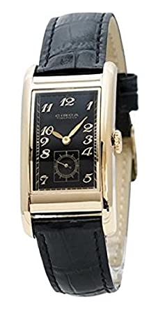 Circa Timepiece Mens Rectangular Watch Black and Goldtone CT125TB