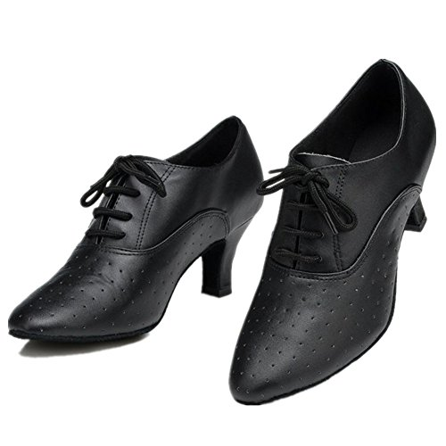 NLeahershoe Leather Lace-up Modern Dancing Latin Dance Shoes For Salsa,Tango,Waltz,Foxtrot,Rumba,Cha Cha (5.5/36)