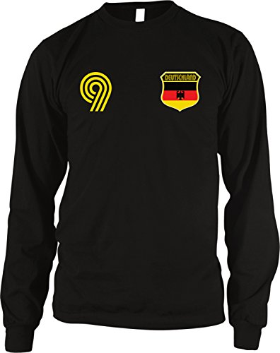 Deutschland Germany Soccer Style Crest and Number Men's Long Sleeve Thermal Shirt, Amdesco, Black - Germany Deutschland