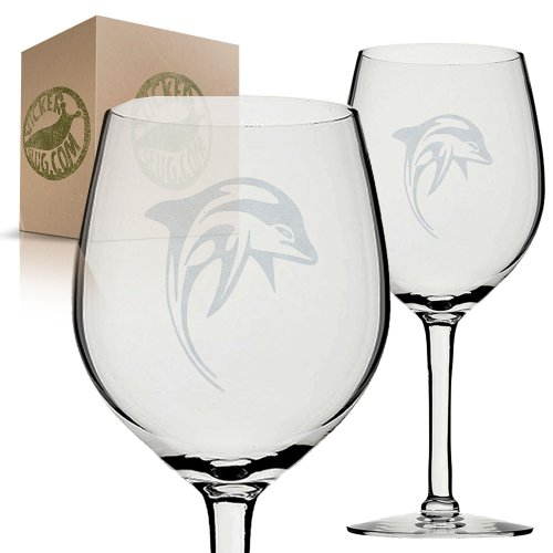 Tribal Leaping Dolphin Etched Wine Glass Set