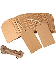 100 Pcs Kraft Paper Tags for Gift Price Notes with 32.8 Feet Natural Jute Twine