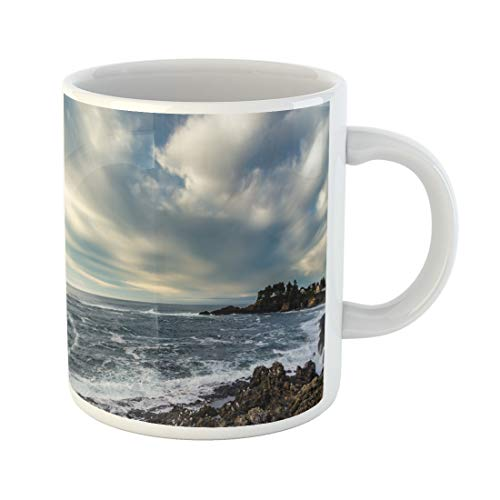 Semtomn Funny Coffee Mug Beach Waves Ashore on Rocky Coast Under Moody Sky 11 Oz Ceramic Coffee Mugs Tea Cup Best Gift Or Souvenir]()