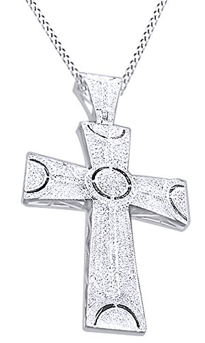 Round Cut Cubic Zirconia Cross Hip Hop Pendant in 14k White Gold Over Sterling Silver (1.9 Cttw) by AFFY