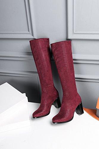 hexiajia Damen Stiefel Rot