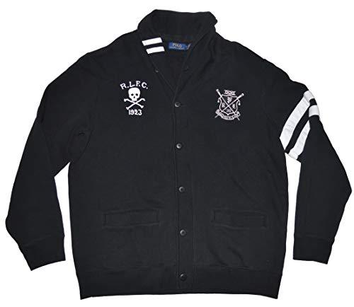 Polo Ralph Lauren Men's Fancy Fleece Skull Crossbones Button Cardigan Fleece Jacket (Black, X-Large)