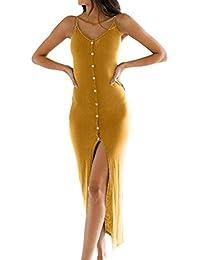 Women's Button Down Adjustable Spaghetti Straps Summer Dress Sleeveless Bodycon Party Maxi Dress