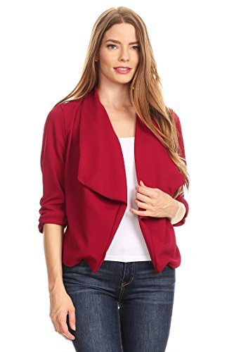 HEO CLOTHING Women's Plus/Reg Solid, Printed Open Blazer Cardigan Jacket Made in -