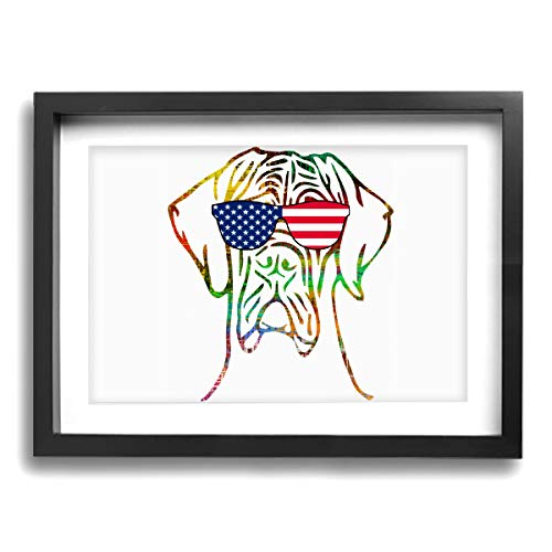 CLLSHOME 12x16 Inches Wall Decor Toilet Bathroom Framed Art Print Picture Patriotic Great Dane USA Flag Wall Art for Home Decorations
