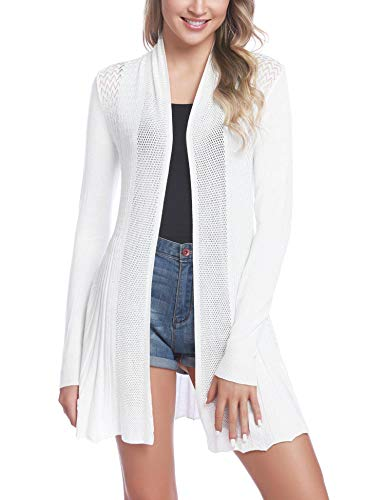 iClosam Womens Casual Long Sleeve Open Front Cardigan Sweater (#2White, Large)