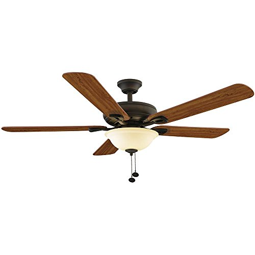 ROTHLEY 52 IN. INDOOR CEILING FAN WITH 3 LED LIGHT KIT, OIL RUBBED BRONZE WITH CHERRY/MEDIUM WALNUT BLADES