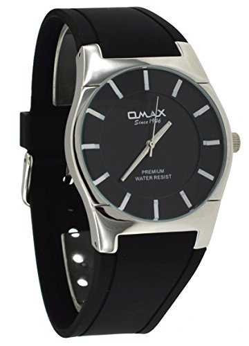 Omax #W006P221 Men's Executive Black Silicone Band with Black Dial and Silver Casing