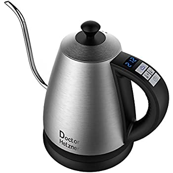 Electric Gooseneck Kettle with Preset Variable Heat Settings for Drip Coffee and Tea, Quick Boil, Stainless Steel with LCD Display, Auto Shut-off, Keep Warm Function & Strix Controller, 1.2L
