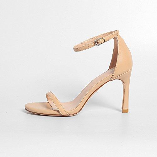 Cuero ZHANGJIA Las 36 Tobillo MsHigh Sandalias Hebillas de Tacón Zapatos de Zapatos Estrellas Sandalias Tacón de Alto Simple Mujeres los del Mujer de rOqrB6
