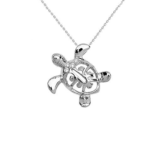 Sterling Silver Diamond Hawaiian Lucky Charm Honu Turtle Hidden Bail Pendant Necklace, 20
