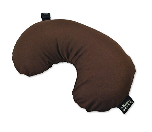 Bucky Minnie, Travel Neck Pillow, All Natural Millet Hull Filling, Removable Cover, Adjustable Filling - Brown ()