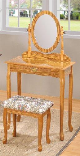 Queen Ann Vanity Set Oak Finish