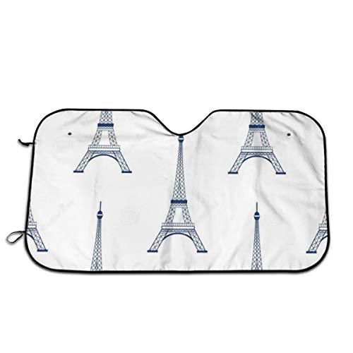 Eiffel Tower Outline Wallpaper Windshields 3D Printed Classic Sunshade Aluminum Heat Resist Sun Shield Easy to Use -
