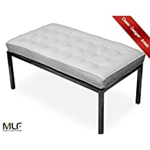 MLF Florence Knoll 2 Seater Bench (5 Colors). Imported White Italian Leather, Multi Density Foam Cushion & Fire Retardant Compliant, High Polished Stainless Steel Frame for Firm & Durability, Floor Protection Pads on Legs.