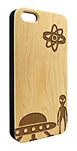 Genuine Maple Wood Organic Aliens Outer Space Snap-On Cover Hard Case for iPhone 4/4S