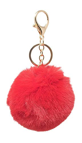 SIMPLICHIC Faux Fox Rabbit Fur Pom Pom Keychain Bag Purse Charm Gold Ring Fluffy Fur Ball Assorted Color and Design - Red