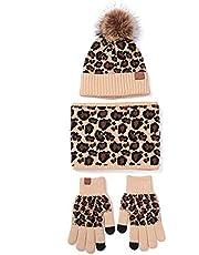 Lelestar 3 st Kvinnor Vinter Pompom Mössa Halsduk Pekskärm Handskar Set Varm Stickad Leopard Tryck Skalle Mössa Plysch Fodrad Hals Varmare Vantar