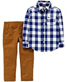 Carter's Boys' 2T-4T 2-Piece Plaid Shirt and Pants Set (Navy Gingham, 2T)