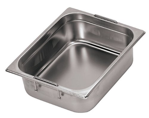 Paderno World Cuisine 25 1/2 inches by 20 7/8 inches Stainless-steel Hotel Pan with Retractable Handles - 2/1 (depth: 6 inches)
