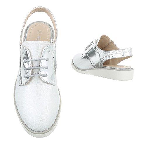 Ital-Design Schnürer Damenschuhe Oxford Schnürer Schnürsenkel Halbschuhe Silber