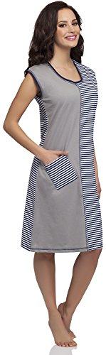 Merry Style Camisa de Dormir para Mujer Elisa Gris/Azul Oscuro