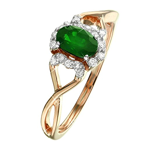 0.77 Ct. Split Shank Natural White Diamond & Green Emerald Engagement Ring 14K Rose Gold For Women (Diamond Emerald 0.77 Cut Ct)