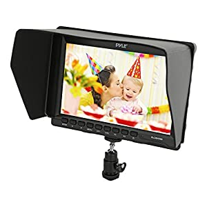 Pyle 7-inch Video Monitor, Field Monitor Screen for DSLR Canon Nikon Sony Cameras, Full HD 1280x800 IPS Screen Display - Includes a Wall Power Adapter and All Cables with a Free Sunshade(PLCMHD80)