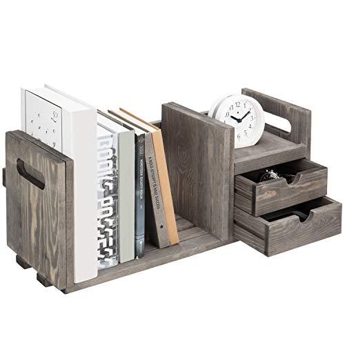 MyGift Vintage Gray Wood Adjustable Desktop Bookcase with 2 Drawers