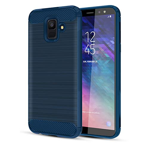 Samsung Galaxy A6 2018 Case W/HD Screen Protector Carbon Fiber Soft TPU Brushed Texture Elastic Full-Body Rubber Heavy Duty Protective case, Navy